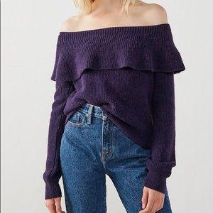 NWT UO Sugarplum Off Shoulder Ruffle Sweater